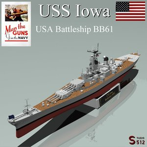 iowa battleships 3d obj