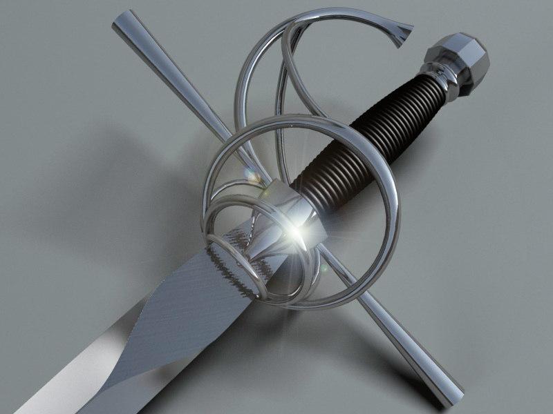 3d max sword crusader knight rapier