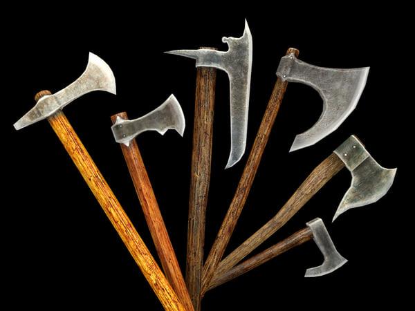 medieval battle axes pack 3d obj