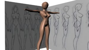free basic human female 3d model