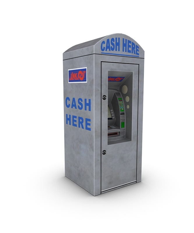 atm standing cash machine 3d model