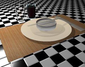cinema4d asian table set