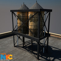 city rooftop water tower 3ds
