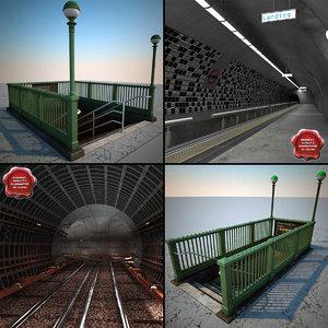 3ds max subway set station