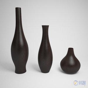 set wood vases 3d model