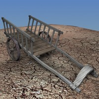 3d old wood carriage details model