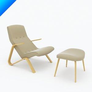 3d model saarinen 61u grasshopper chair