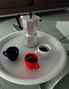 3d moka cups coffee