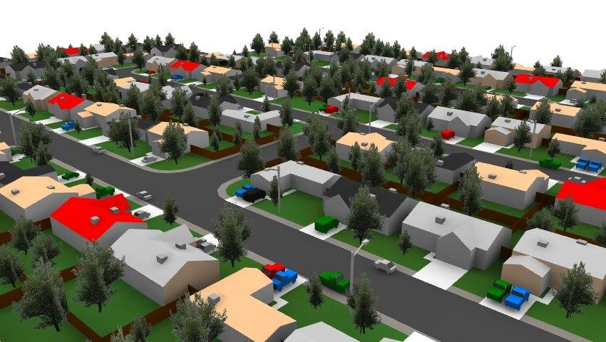 3dsmax houses neighborhood