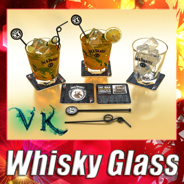 3ds photorealistic whisky glass
