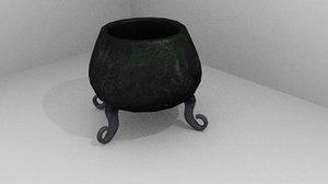 3d low-poly magic cauldron model