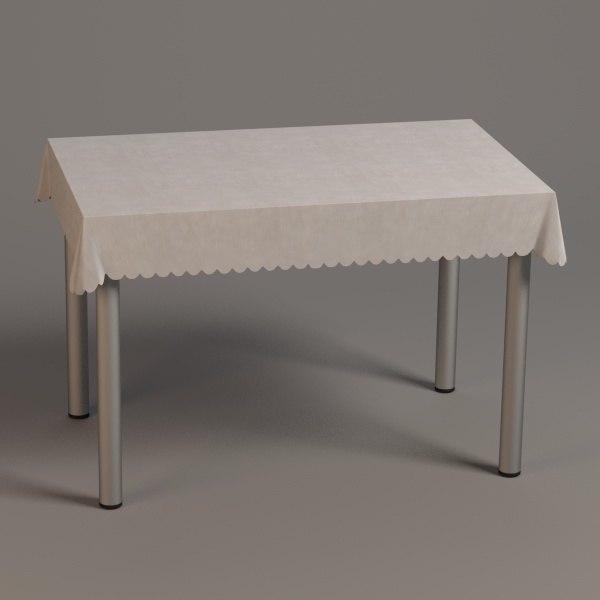 3d square table model