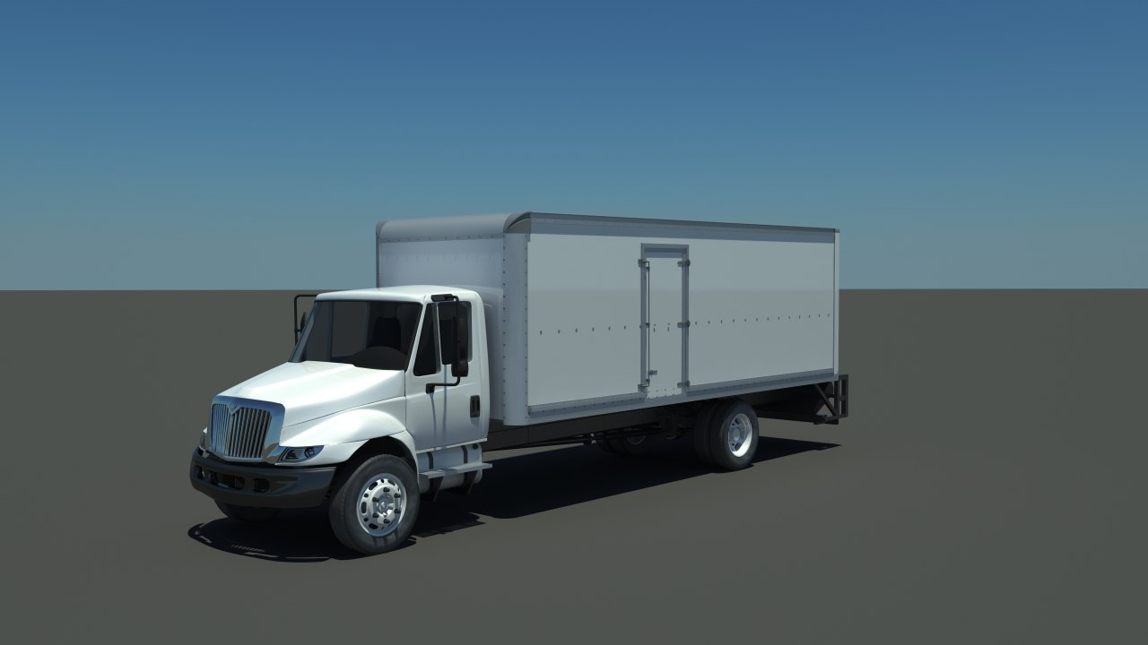 3d box truck international 4300 model