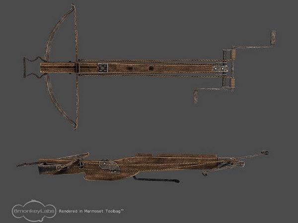 3d obj medieval crossbow bow
