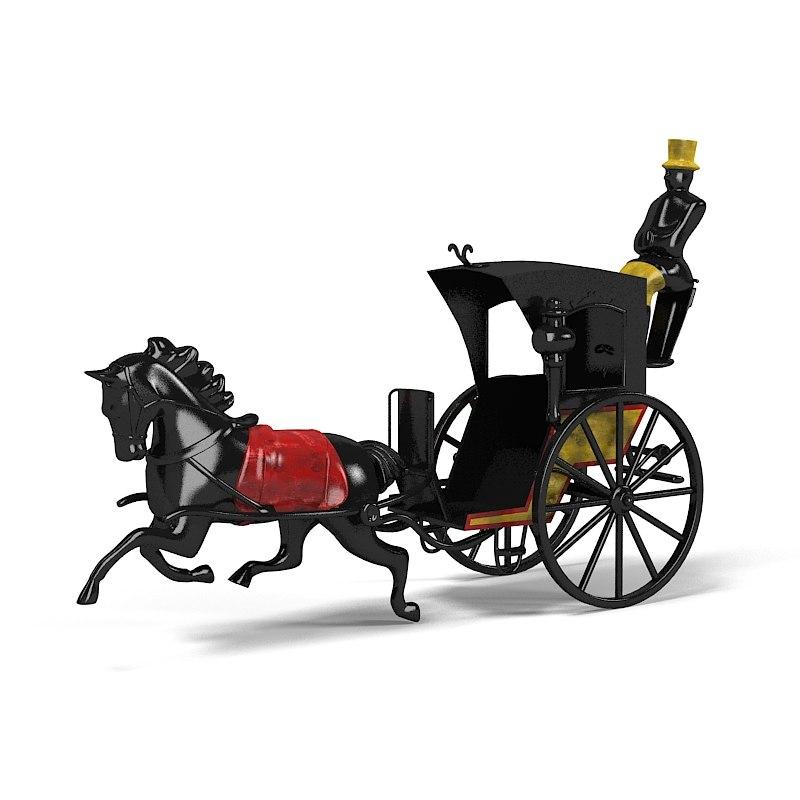 antique horse cast-iron 3d model