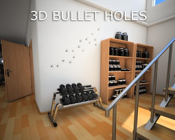 bullet holes wall 3d 3ds