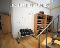 bullet holes wall 3d 3ds