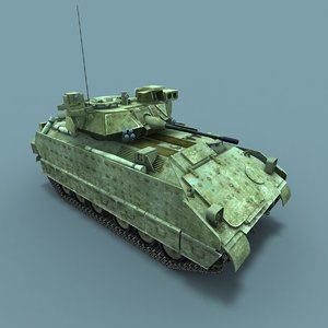 3d low-poly m2a3 bradley fighting vehicle