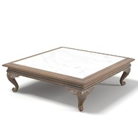 Provasi 0274 Carved Coffee Table with Marble Top classic  baroque