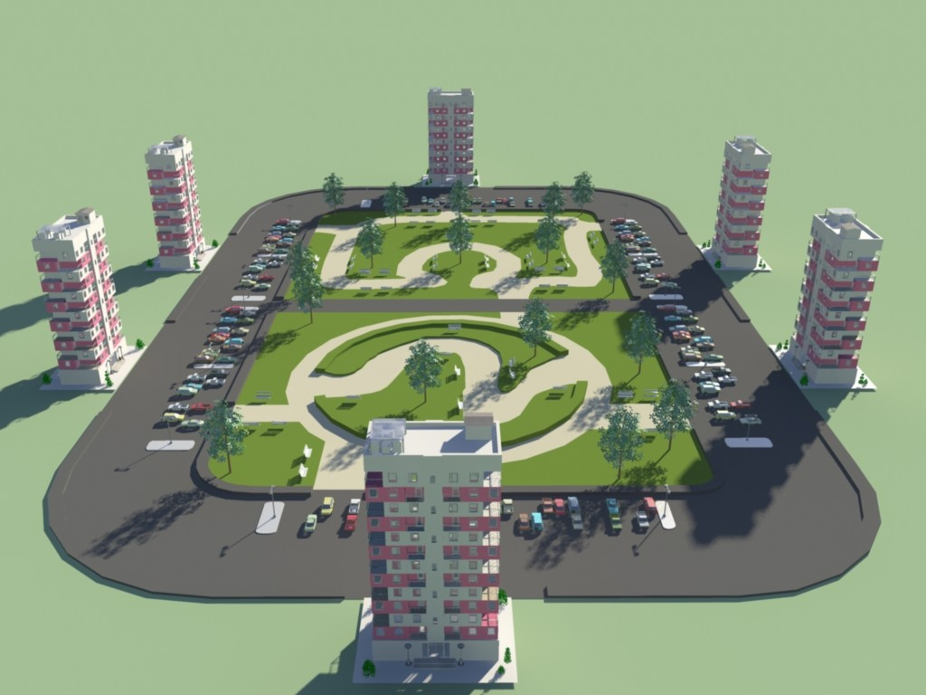 3d business residential area model
