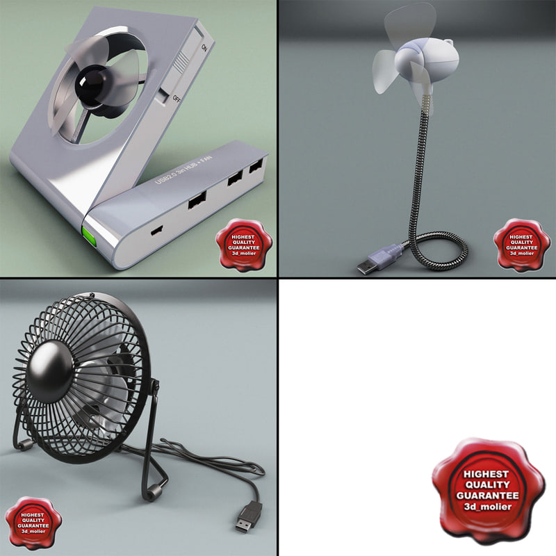 usb fans 3d model