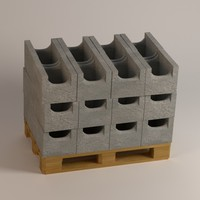 concrete bricks 3d 3ds