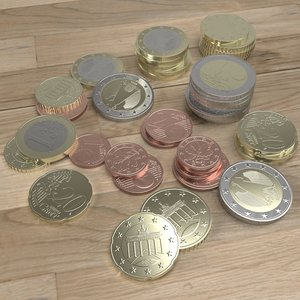 german euro coins 3d 3ds