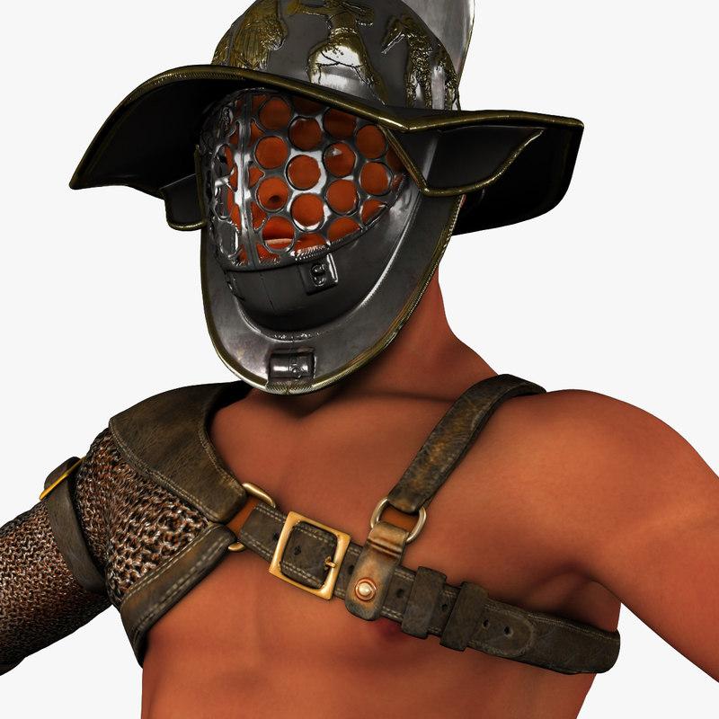 3d model roman gladiator armor set