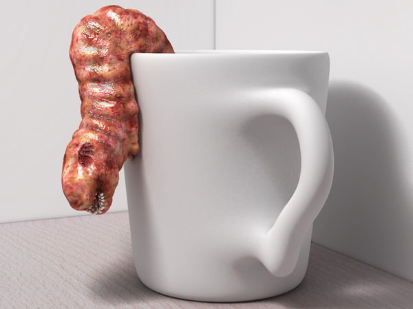 ugly coffee cups worms 3d c4d