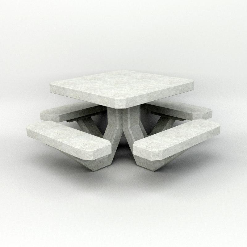 3d concrete picnic table