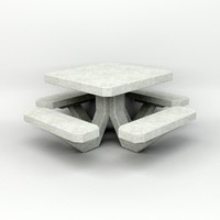 3d concrete picnic table