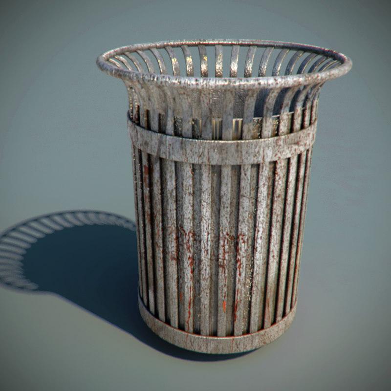 3d metal rusty trash bin