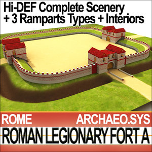 legionary fort roman scenery c4d
