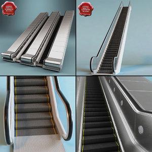 escalators set modelled 3d c4d