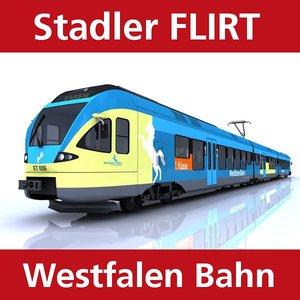 flirt passenger train westfalen 3d c4d