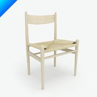 3d model ch36 hans wegner chair seat
