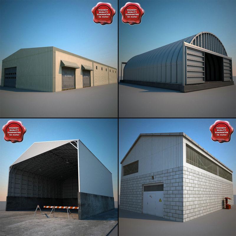 warehouses modelled hangar 3d ma