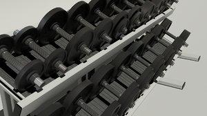 3d weight set rack model
