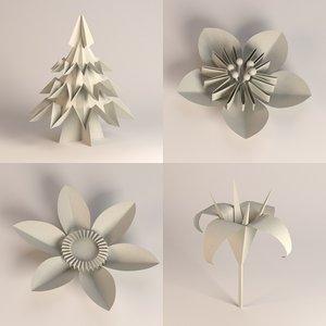 3d model paper plants