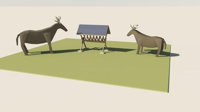 obj deer stylized manger