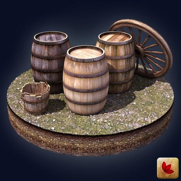 3ds max wooden barrels bucket wheel