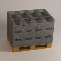 3d concrete bricks palette model