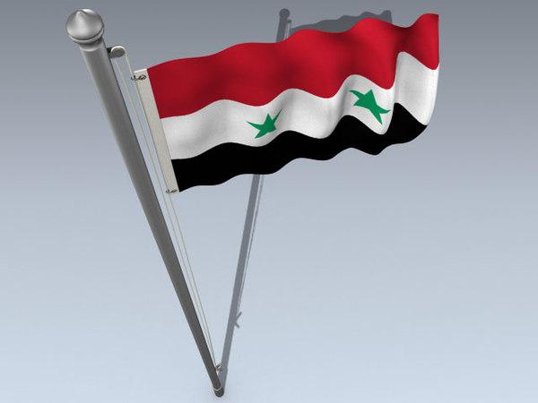 3d model flag syrian arab