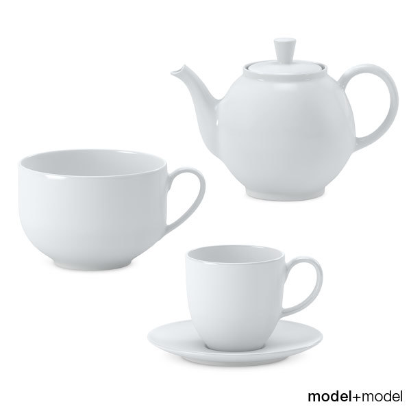 3d model white ceramic tea set