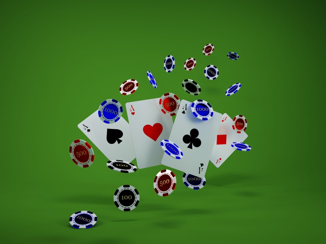 casino cards chips flying 3d max