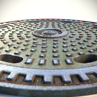 3d model metal rusty sewer lid