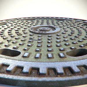 3d model metal rusty sewer lid