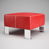 3dsmax red leather pouf 03