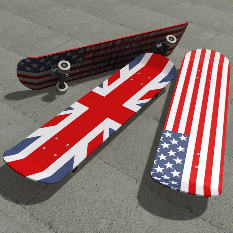 free skateboard skate 3d model