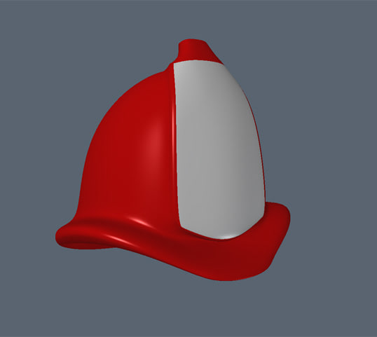 3d model of fireman cartoon hat uv